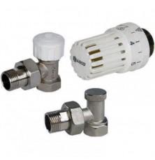 Термокомплект угловой (кран термостатический+блок-кран+термоголовка 1/2