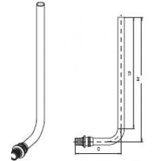 Трубка Г (нерж.) RAUTITAN для підключення радіатора, 16,  250 мм